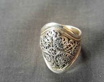 Silver Filigree Ring Size 7 (UK O)