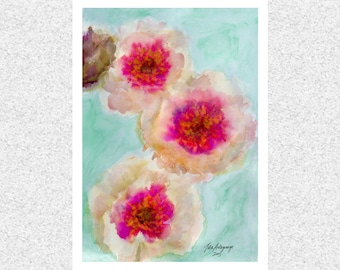 Romantic Times Floral Abstract Watercolor Fine Art Giclee Print Original Artwork