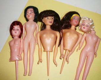 Vintage Half Dolls Plastic Dolls Repurpose Dolls Wilton Cakes Dime Store Dolls Set by VintageStudioSupply