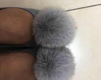 Grey Puffs Ballet Flats Shoes Soft Leather Shoes genuine pom pom balls fluffy shoes custom women&kid's shoes pompoms fuzzy plush Shoes