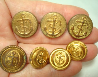 Vintage Grouping Golden NAVY  Military Like Anchor Buttons.
