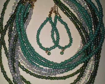 Exquisite green beaded necklace with matching pierced earrings - # 195