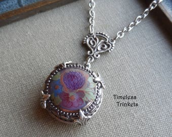 Vintage Glass Button Necklace, Purple, Plum, Blue, Orange, Green Floral Design with Silver Highlights, Designs by Timeless Trinkets