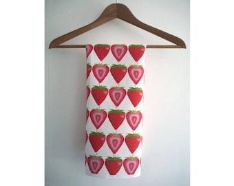 Handmade Hand Drawn Cotton Strawberry Tea Towel
