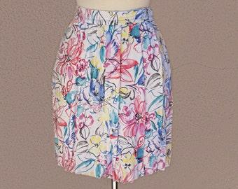 Vintage Floral Mini Skirt, Short Floral Skirt, High Waisted Skirt, White Floral Skirt, Pink Mini Skirt, Summer, Bohemian Skirt, Boho Chic
