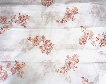 Floral Embroidered Cotton Dotted Swiss Fabric Voile   By the  Yard