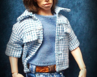 Wearable shirt and   T-shirt set  for 1:12 scale doll house (fits 15-16 cm. dolls)