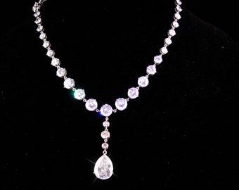 Art deco necklace - statement teardrop choker - Vintage sparkling formal wear - CZ teardrop  - Bridal jewelry - Romantic - high quality