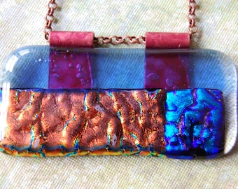 Dichroic Glass Fused Glass Pendant Necklace 24 Inch Copper Chain Handmade Copper Bail