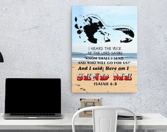 Isaiah 6 8 Canvas; Romans 10 15; Scripture Art Gifts