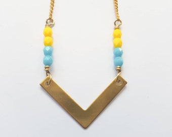 Geometric brass chevron necklace with blue turquoise and yellow beads