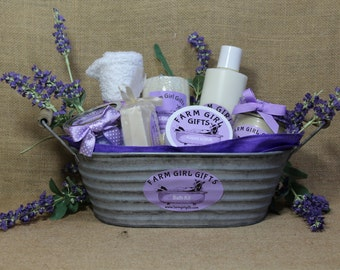 Large Lavender oil, and Goats Milk, Soap and Lotion Gift Basket