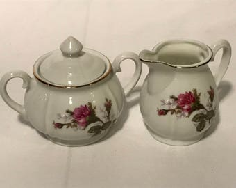 Moss Rose Creamer and Sugar Set, Gold Rim, Japan