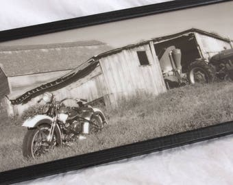 8x20 inch framed print of a Harley Flathead and Farmall tractor