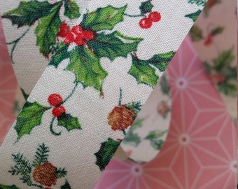 3 Yds Adorable Vintage Christmas Holly Berries Ribbon