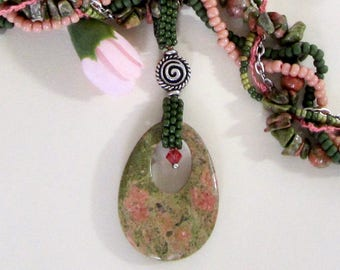 Pink and Green Unakite Pendant and Bead Necklace