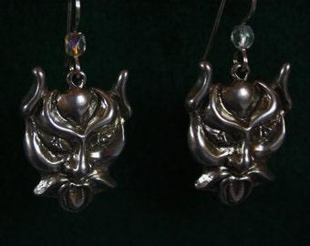 Pan, God of Green-  Sterling Silver Dangle Earring