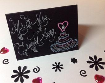 Custom Wedding Calligraphy Place Cards ~ Escort Cards ~ Thank You Favor Tag ~ Handwritten ~ Affordable ~  Hand Drawn Lovebird Wedding Cake