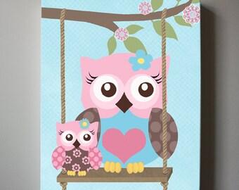 Owl Decor Girls wall art - OWL canvas art, Baby Nursery Owl with Swing whimsical nursery art, Match with Brooklyn Nursery Bedding