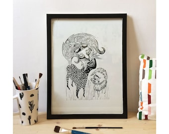 """Engraving - """"funny cats"""" - limited edition"""