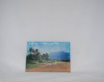 Hawaii Wall Plaque Beach Photo Tropical Painting Nature Photography Mixed Media Art Desk Decoration Island Scenery Kauai Picture Small Panel