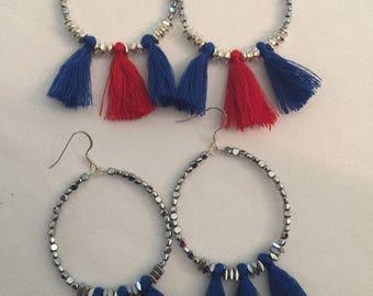 Silver beaded earrings with tassels