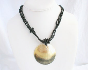 Vintage Big Shell Pendant Necklace Chunky Big Vintage Multistrand Black Glass Beads MOP Shell Pendant