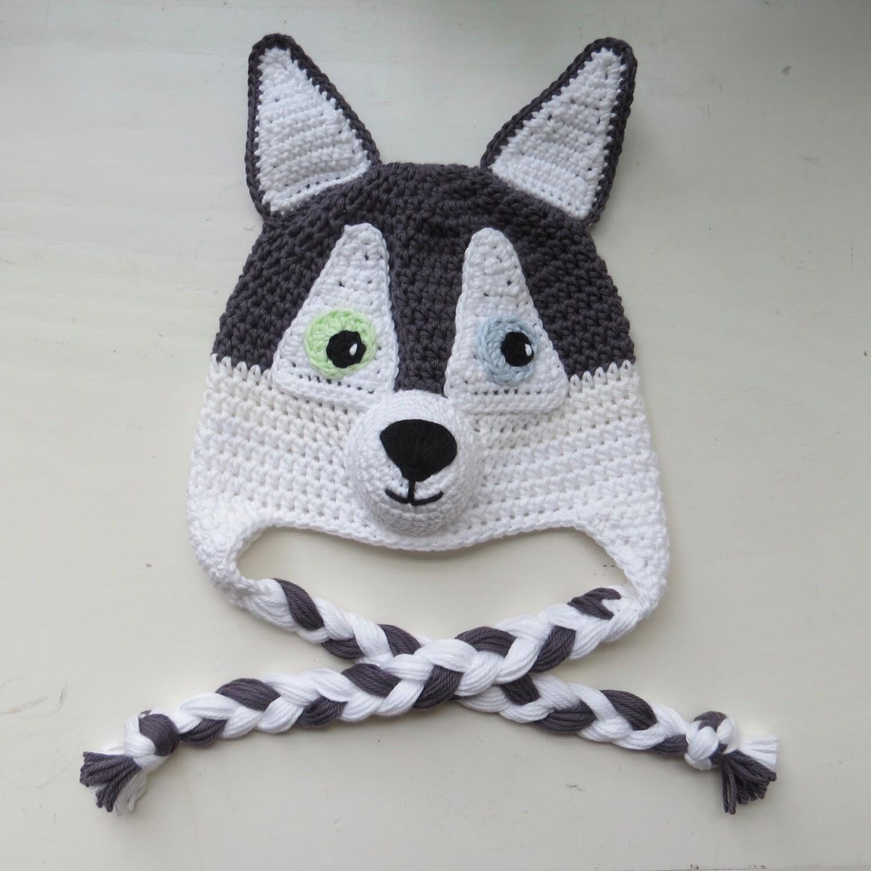 Husky Dog Hat Handmade Crochet Husky Character Hat Crochet