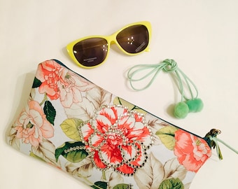 Flower bling clutch with pom pom choker necklace handmade jewelry and accessory