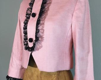 Vintage 60 ' s Costume recadrée veste rose & volante dentelle noir S
