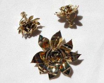 Retro Rose Brooch Pin and Matching Clip On Earrings