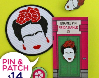 Pin & Patch Bundle - Frida Kahlo Cejas Enamel Pin and Iron-Patch - Patches for Jackets