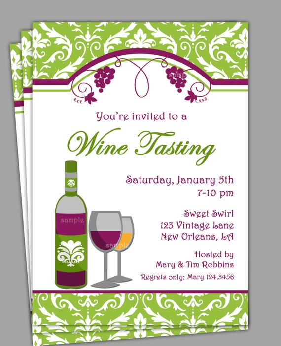 Wine Tasting Invitation Printable Or Printed With FREE - Wine and cheese party invitation template free