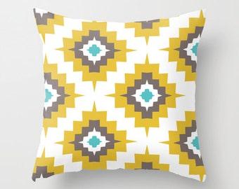 Southwestern Pillow  - Mustard Yellow Brown Turquosie -  Modern Throw Pillow - Home Decor - By Aldari Home