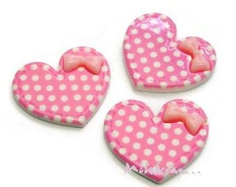 Set of 3 hearts light pink resin scrapbooking card (ref.310). *.