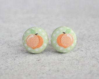 Polka Dot Peach Fabric Button Earrings