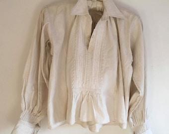 Vintage Natural Linen Ladies Shepherds Shirt