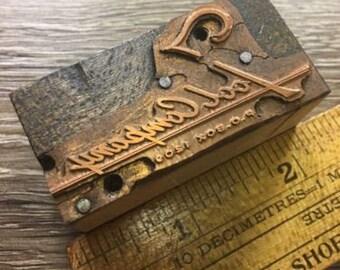 Vintage Letterpress Printer Block Tool Company Logo Seal Type