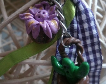 Cactus + Flower key fob from Fimo