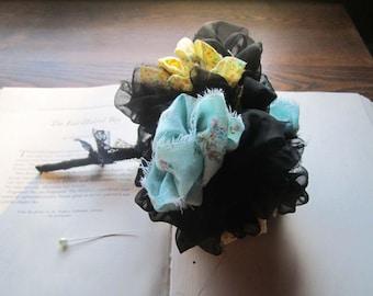 Handmade Fabric Bouquet Set, Vintage Fabric Flowers, Unique Brides, Small fabric Poms, 100% Vintage & OOAK, Eloping Bouquets, Gift, Keepsake