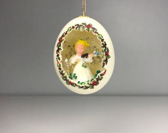 vintage egg Christmas ornament with angel