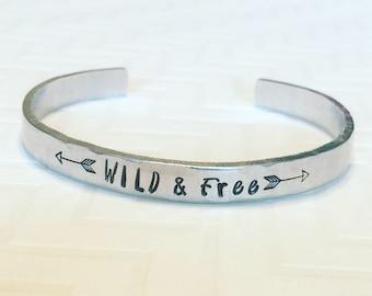 Wild & Free Bracelet - Arrow Bracelet - Thin Silver Aluminum Bracelet - Stacking Bracelet - Hand Stamped Personalized