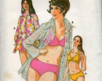 Kwik Sew 479 1970s Misses Designer Bikini Cover Up Pattern Halter Bra Top Womens  Vintage Sewing Pattern Size 6 8 10  Bust 32 34 35 UNCUT