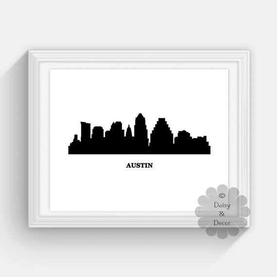 Austin Skyline art print austin texas wall art texas print