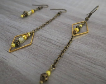 """*~. Earrings """"Mismatched"""". ~ * yellow, bronze, fine, different, original"""