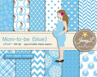 Pregnant Mom Digital papers and Clipart SET, Mom-to-be for Baby Boy, Baby Shower, Gender Reveal Digital scrapbooking