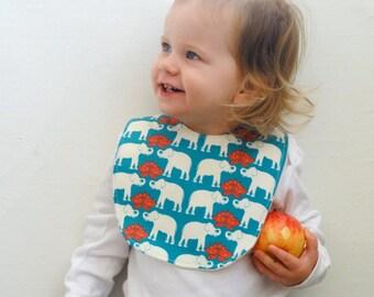 Organic Baby Bib with Elephants- Blue and Orange Baby Bib- Modern Baby Bib