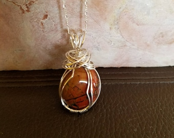 Red Jasper with Agate veins, Wrapped with Sterling Silver Wire