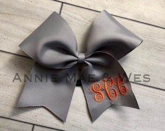 Monogrammed Cheer Bow - Cheer Bow with Monogram - White Cheer Bow - Team Cheer Bow - Softball Bows - Softball Bow - Softball bow monogram