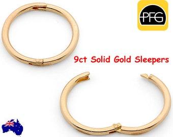 New 375 9ct 9K Yellow Gold Solid Hinged Sleeper Hoop Earrings Australian Made